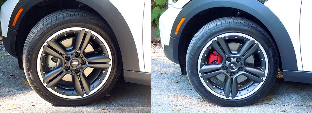 Painted calipers red on MINI Cooper