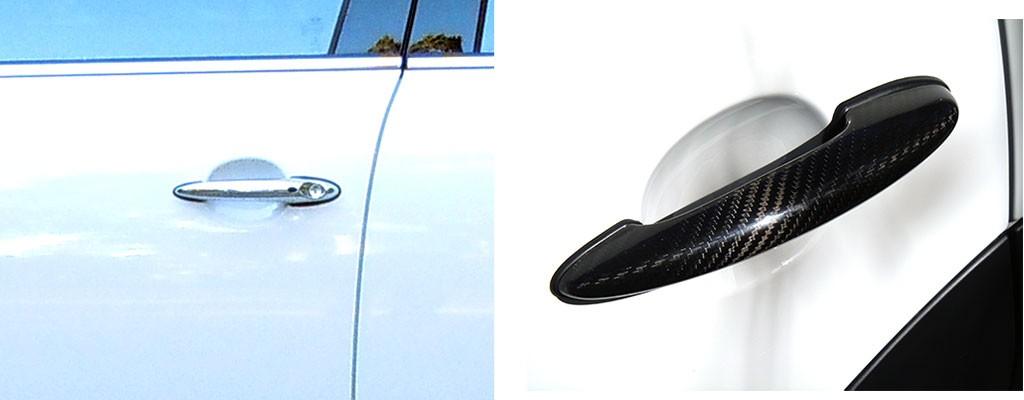Installed carbon fiber door handle covers on MINI Cooper