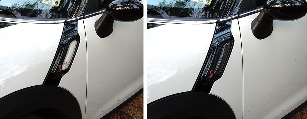 Replaced side scuttle lights with blacked out versions on MINI Cooper