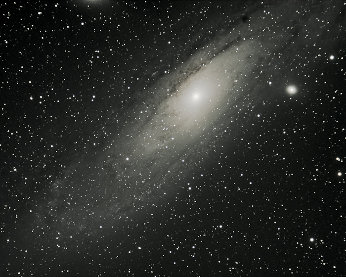 Stretched image of the Andromeda Galaxy