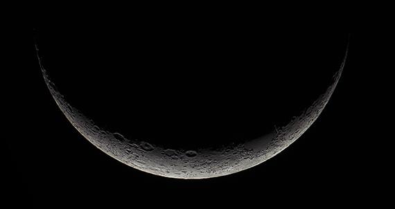 Young moon, a slim waxing crescent
