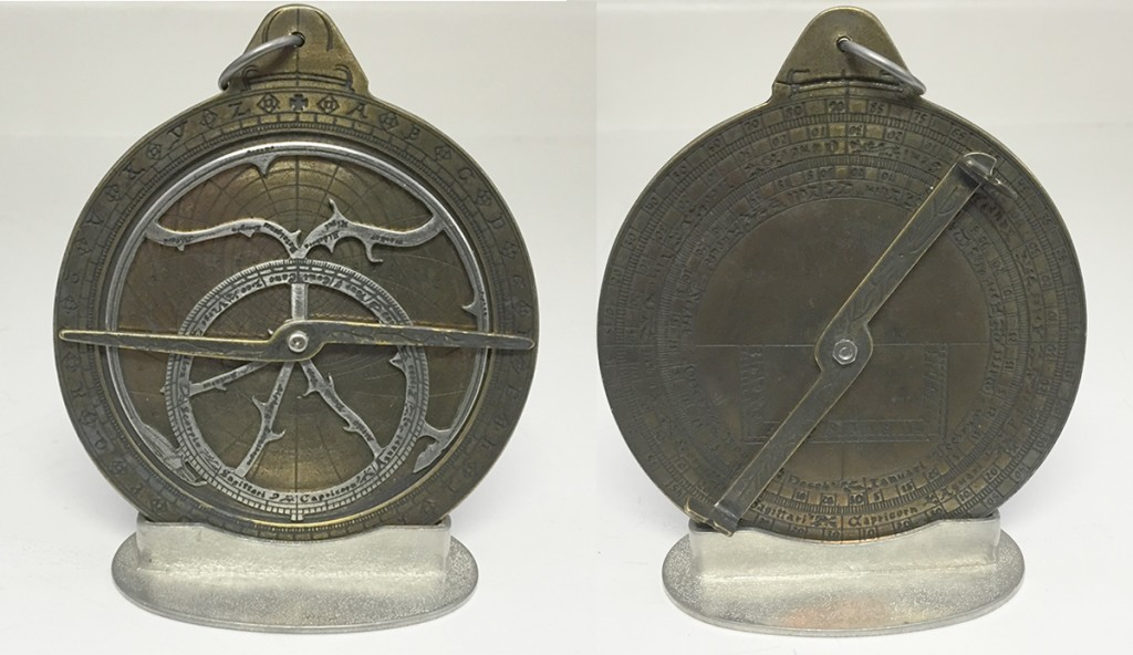 An astrolabe, an early piece of astronomy equipment