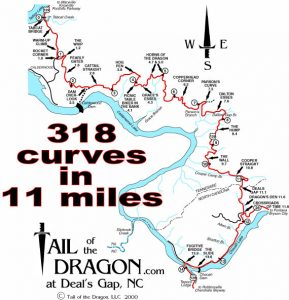Tail of the Dragon map